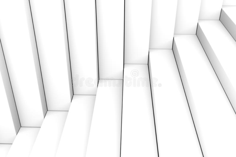 Black and white abstract background stairs box. 3d illustration stock illustration