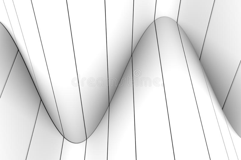 Black and white abstract background with wave line. 3d illustration royalty free illustration