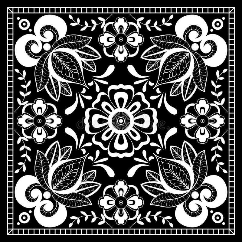 Black and white abstract bandana print with  element henna style. Square pattern design for pillow, carpet, rug. Design for silk neck scarf, kerchief, hanky vector illustration