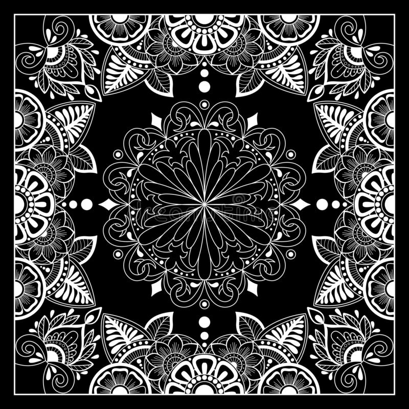 Black and white abstract bandana print with  element henna style. Square pattern design for pillow, carpet, rug. Design for silk neck scarf, kerchief, hanky royalty free illustration