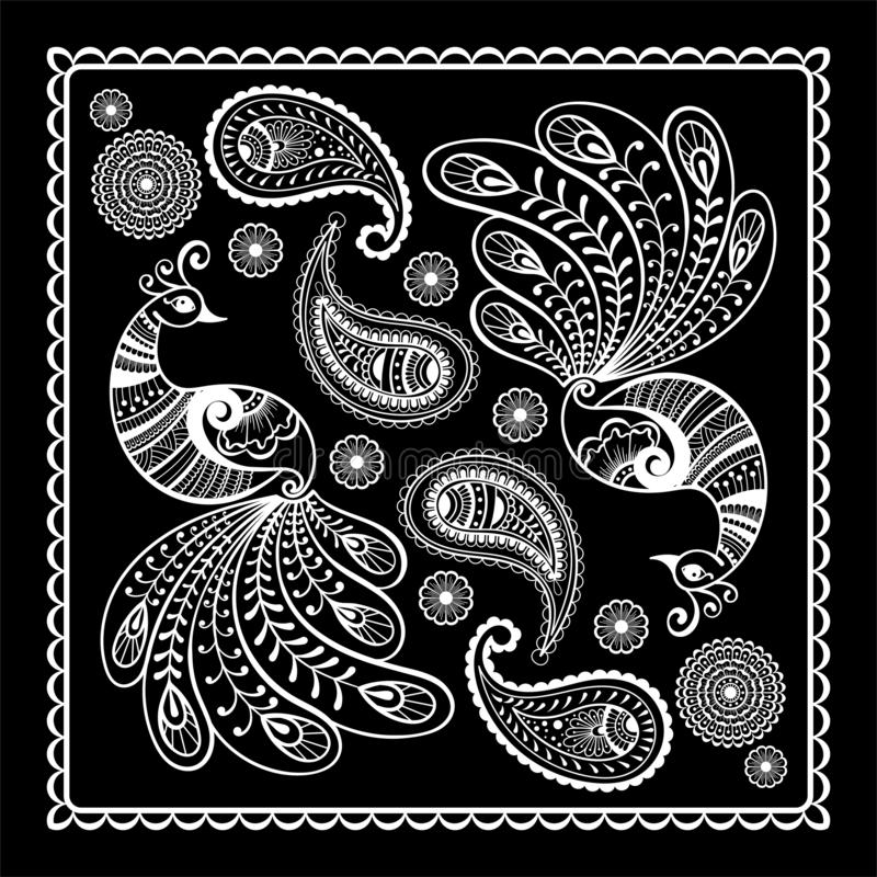 Black and white abstract bandana print with  element henna style. Square pattern design for pillow, carpet, rug. Black and white bandana print with  peacock vector illustration