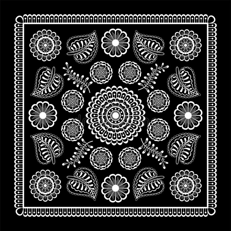 Black and white abstract bandana print with  element henna style. Square pattern design for pillow, carpet, rug. Design for silk neck scarf, kerchief, hanky stock illustration
