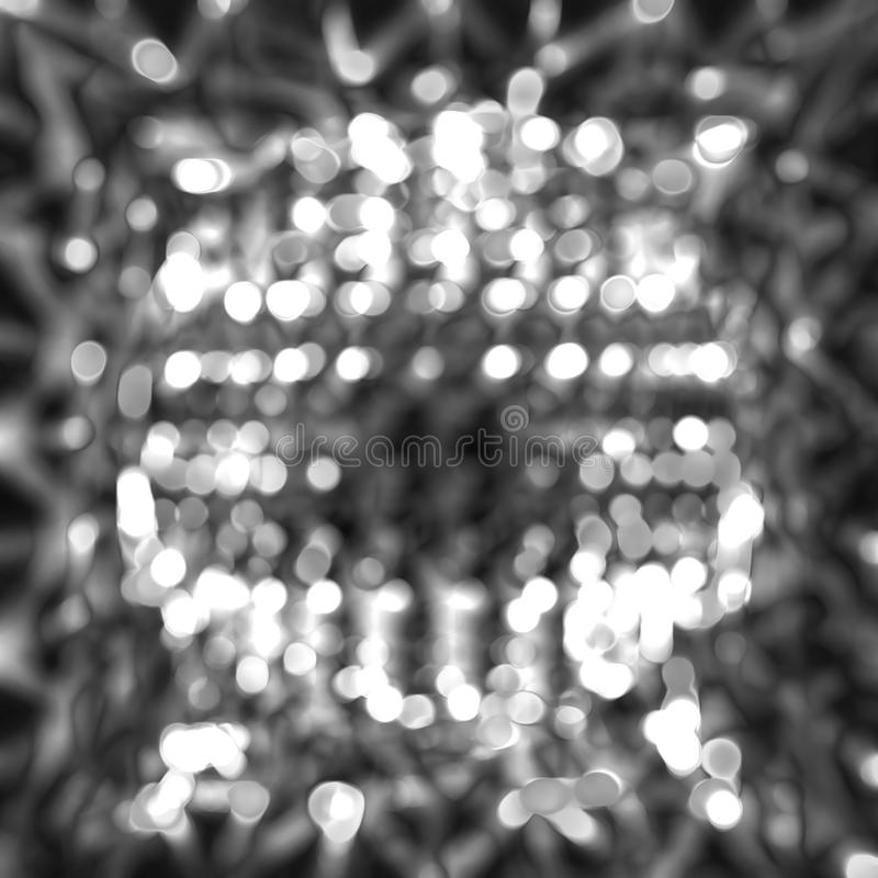 Black and white abstract bokeh overlay texture. stock image