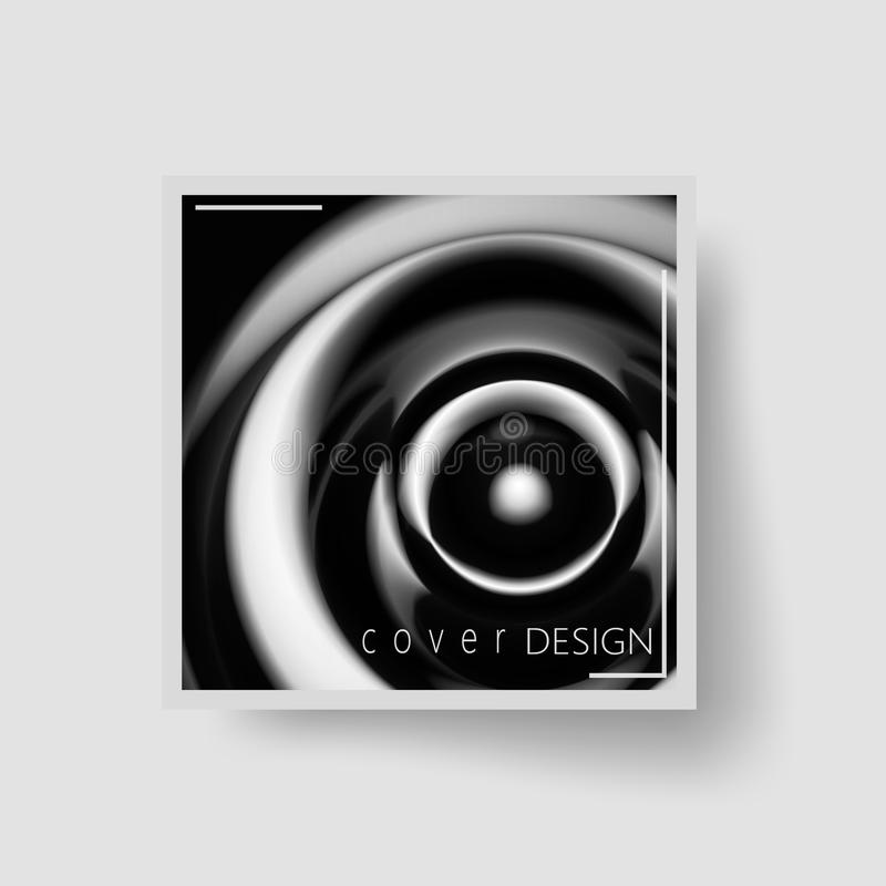 Black and white abstract brochure cover vector illustration