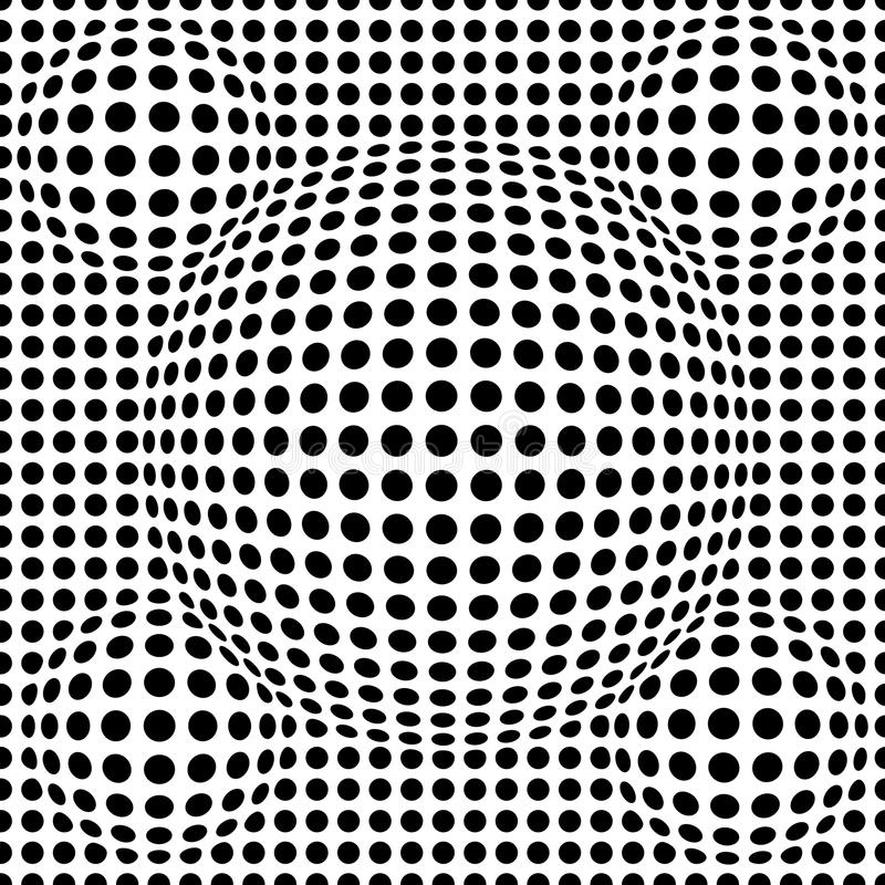 Black and white abstract dotted seamless pattern. Texture with spheres, billowy dots for your designs. Vector illustration stock illustration
