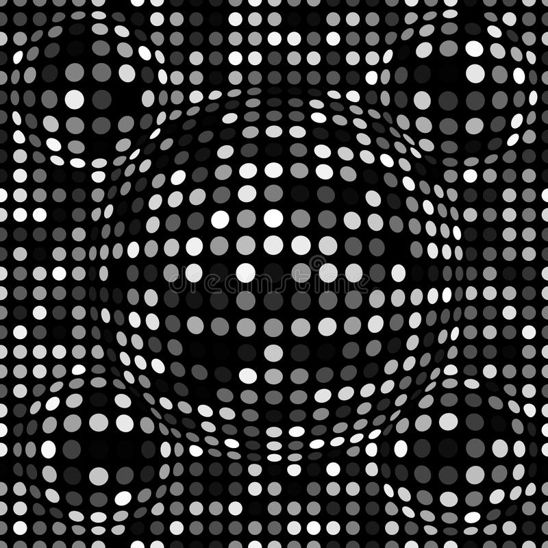 Black and white abstract dotted seamless pattern. Texture with spheres, billowy dots for your designs. Vector illustration royalty free illustration