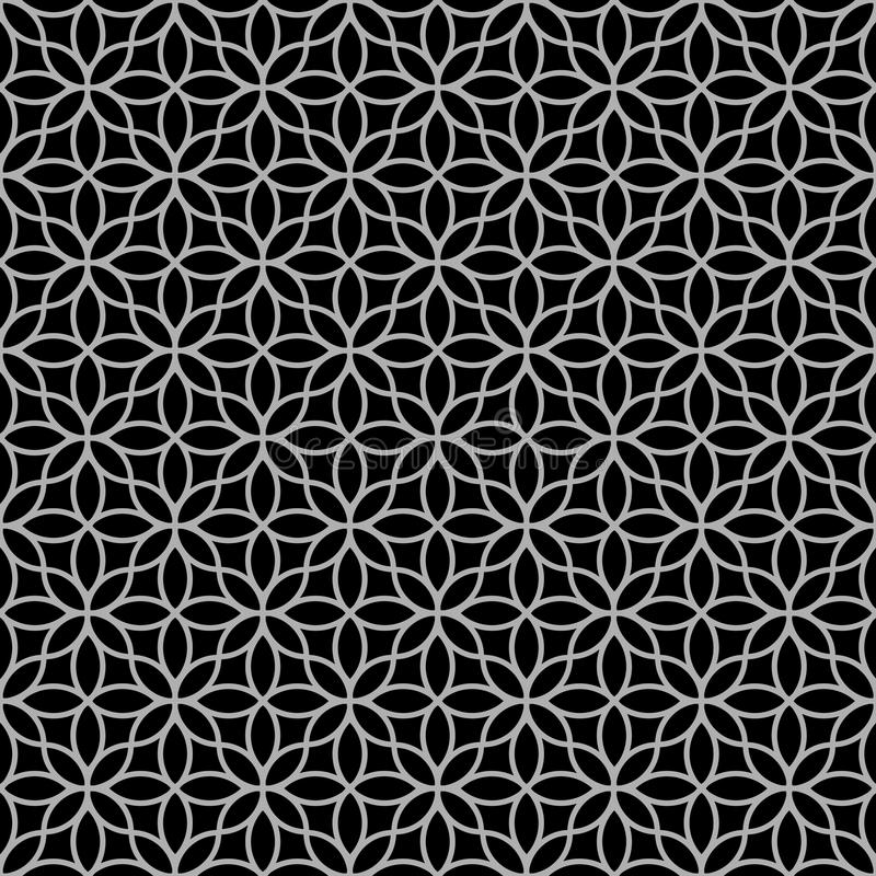 Black-and-white abstract floral seamless pattern stock illustration