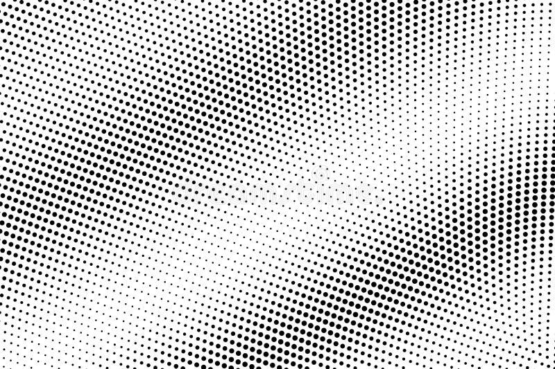 Black white abstract halftone vector texture. Digital pop art background. Diagonal dotwork gradient for vintage effect stock illustration