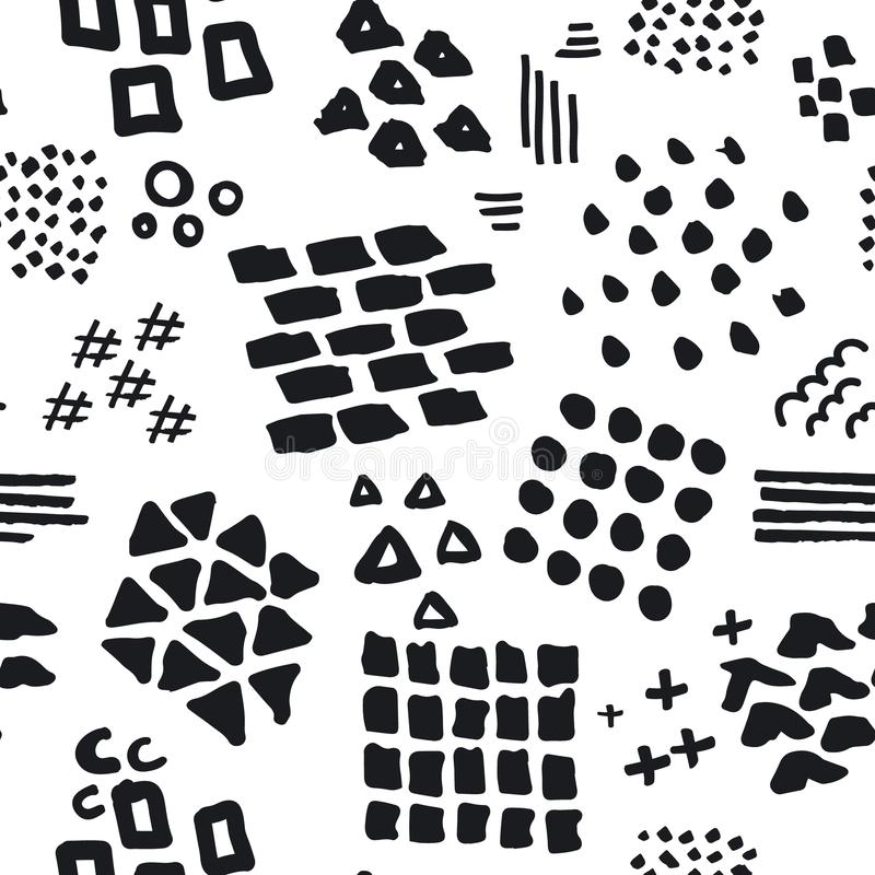 Black and white abstract hand drawn different shapes brush strokes and textures seamless pattern vector illustration