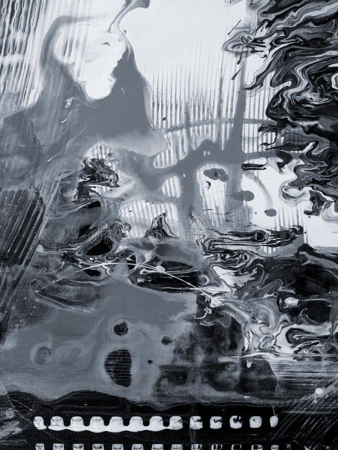 Black and white abstract hand painted background royalty free stock photography
