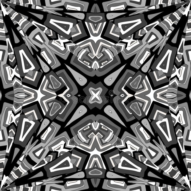 Black and white abstract kaleidoscope background royalty free illustration
