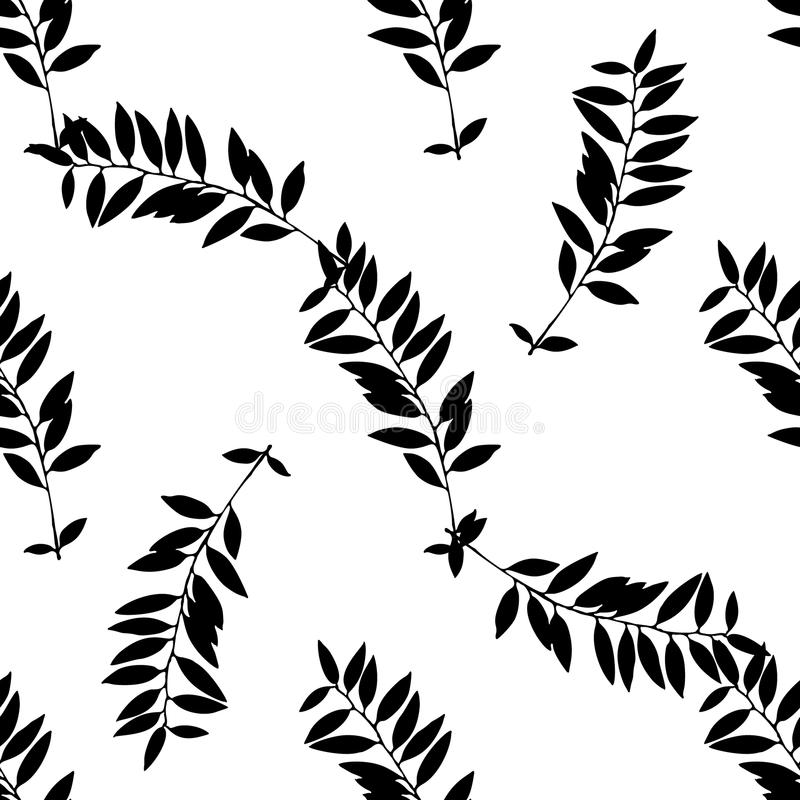 Black and White Abstract leaves silhouette seamless pattern vector illustration
