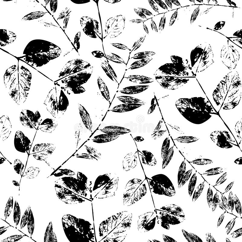 Black and White Abstract leaves silhouette seamless pattern royalty free illustration