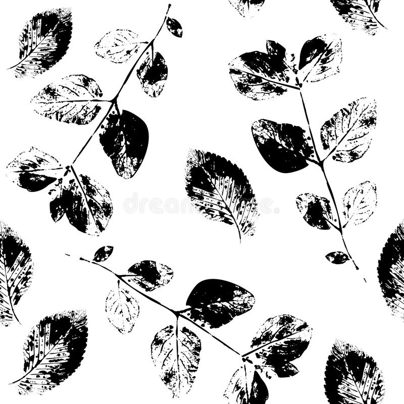 Black and White Abstract leaves silhouette seamless pattern stock illustration