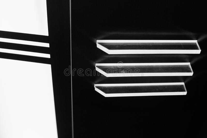 Black and white abstract light roof of elevator stock photo