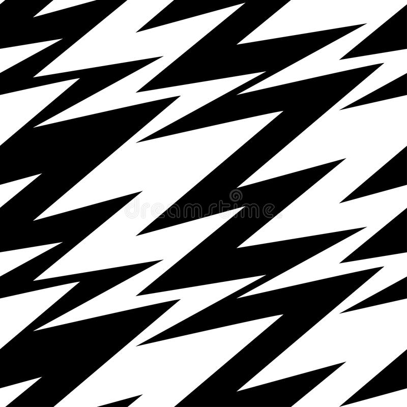 Black And White Abstract Lightning Seamless Pattern Stock