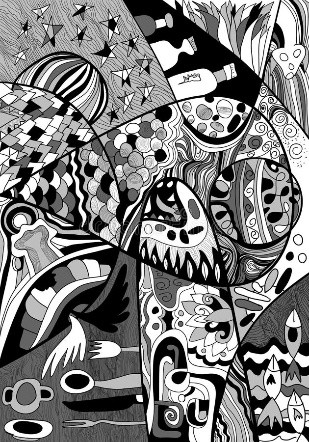 Black and white Abstract Line art with doodle and zentagle style stock illustration