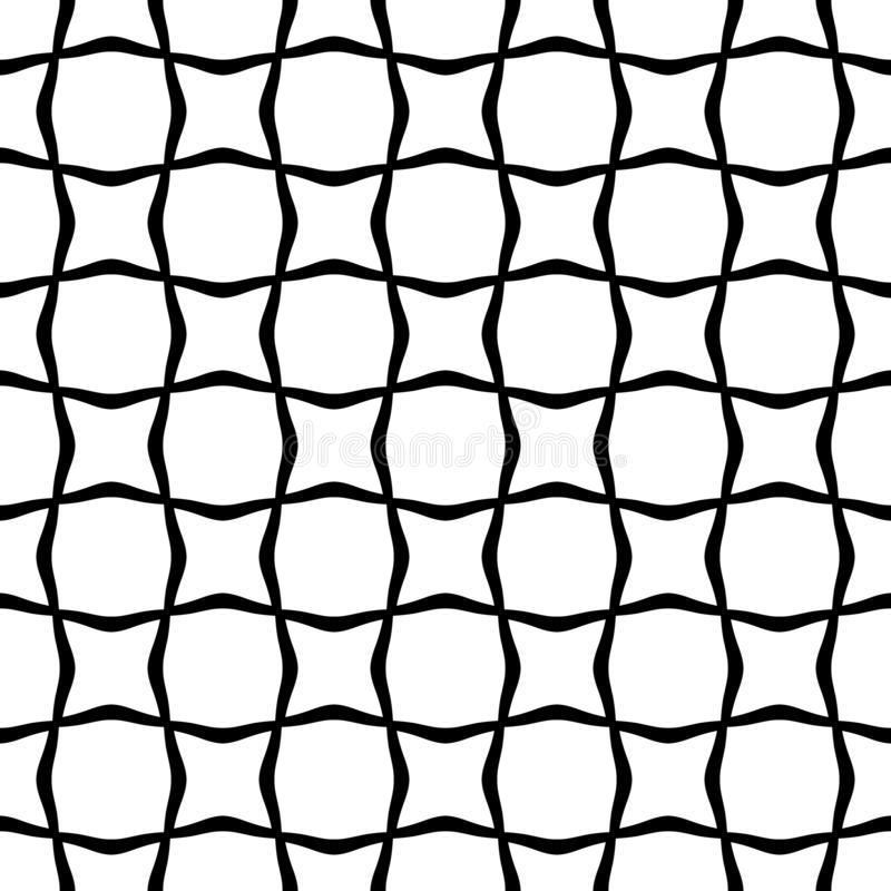Black and white abstract line wave seamless pattern. Texture with wavy, billowy lines for your designs. Irregular, illustration. stock illustration