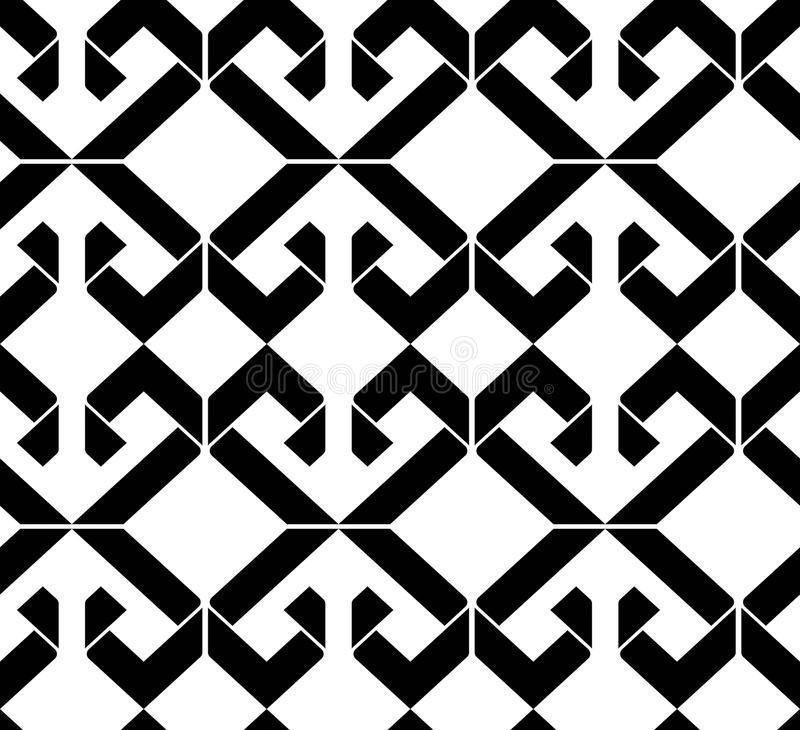 Black and white abstract ornament geometric seamless pattern. Symmetric monochrome vector textile backdrop. Intertwine rhombs. royalty free illustration