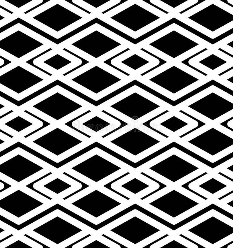 Black and white abstract ornament geometric seamless pattern. stock illustration