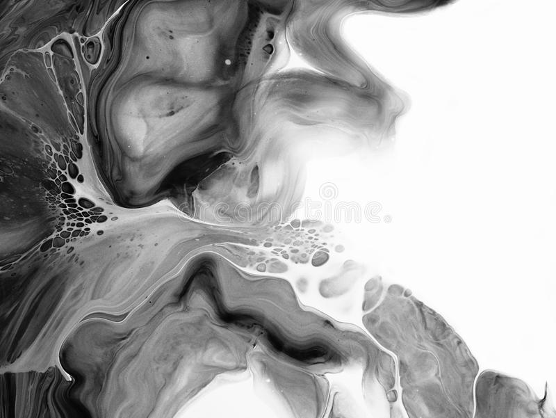 Black and white abstract painted background, wallpaper, texture. Modern art. Creative abstract hand painted background, wallpaper, texture, close-up fragment of royalty free stock images