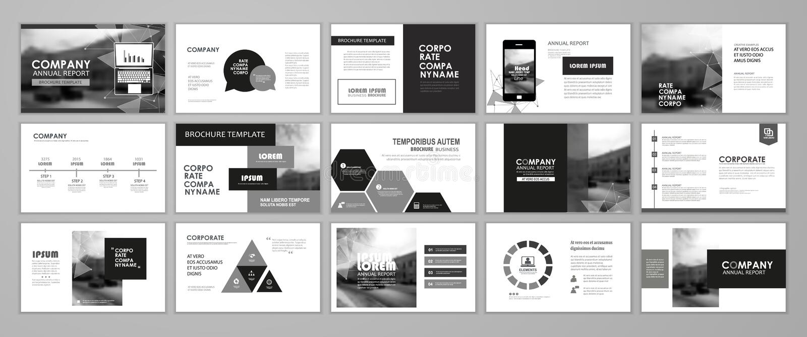 Black and white abstract presentation slide. Templates. Infographic elements template set for web, print, annual report brochure, business flyer leaflet vector illustration