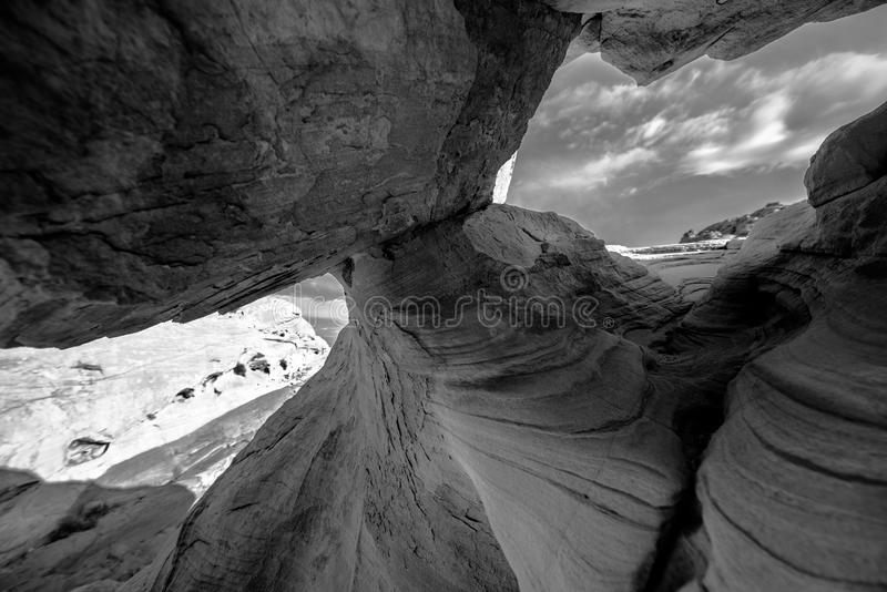 Black and White Abstract Rock Formations Valley of Fire Nevada. Black and White Abstract Rock Formations Valley of Fire Overton Nevada stock photos