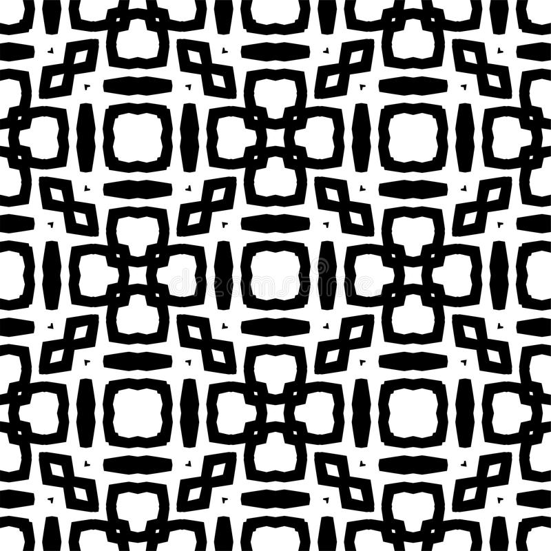 Black and white abstract background. Black and white abstract seamless pattern, curved, roumd stock illustration