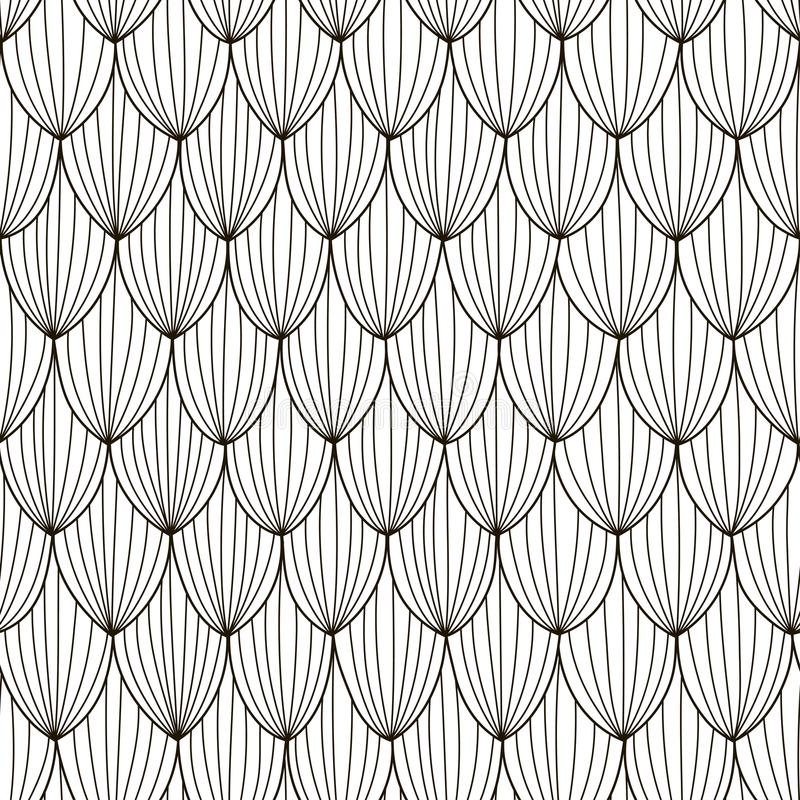 Black and white abstract seamless pattern. Hand drawn wave background stock illustration