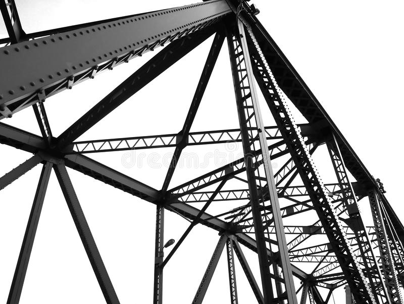 Black and white structural of bridge royalty free stock image
