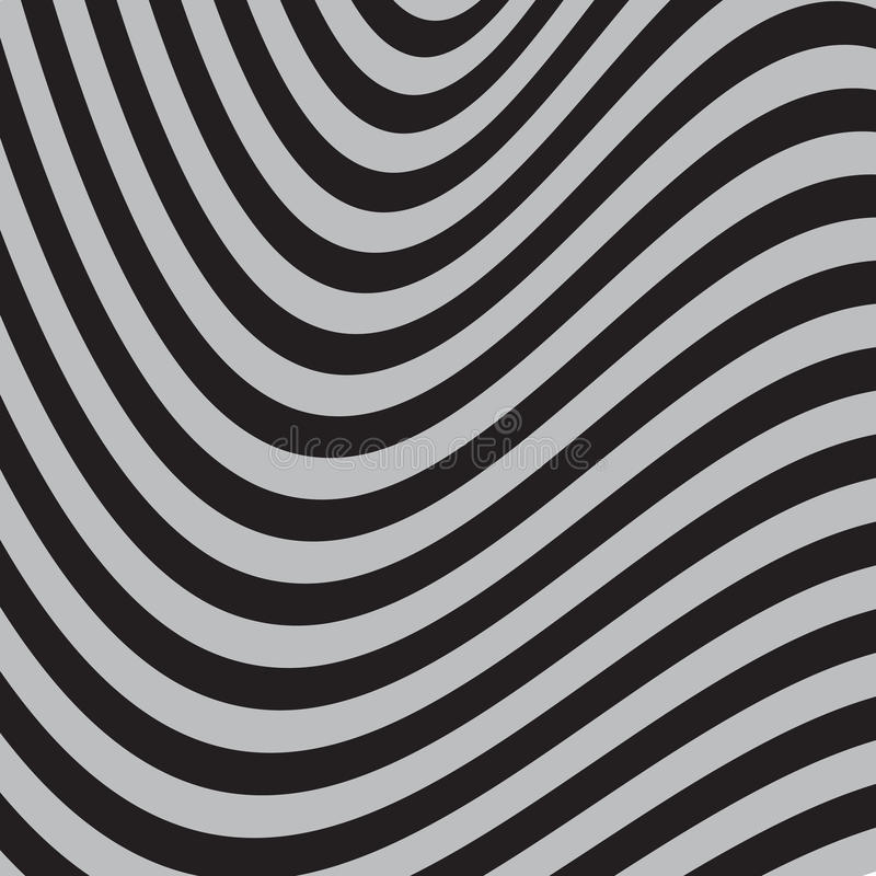 Black and White Abstract Striped Background. Optical Art vector illustration