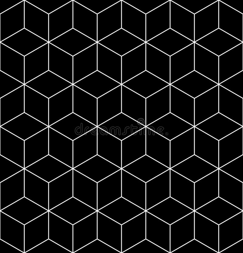 Black and white abstract textured geometric seamless pattern. Vector contrast textile backdrop with cubes and squares. Graphic co vector illustration