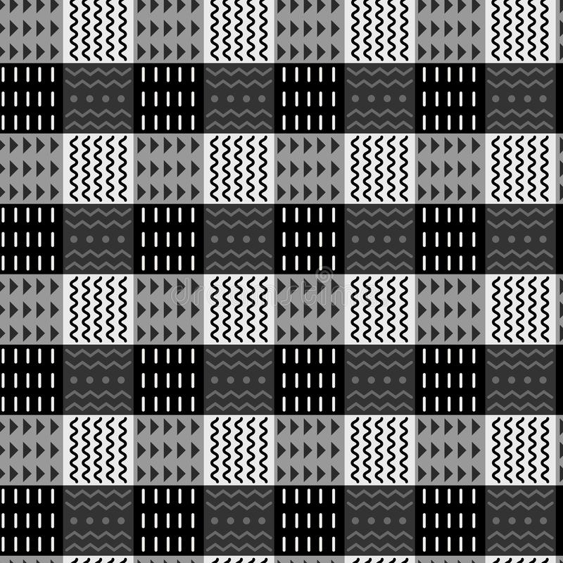 Black and white abstract tribal checkered seamless pattern, ethnic style, stylish background. Vector ornamental stock illustration