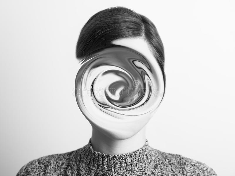 Black and White Abstract Woman Portrait Of Confusion. Concept stock photography