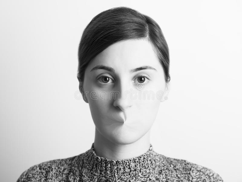 Black and White Abstract Woman Portrait Of Freedom Of Speech. Concept royalty free stock image