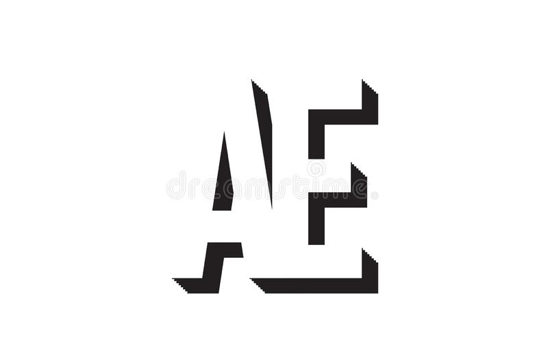 Black and white ae a e alphabet letter logo combination icon design. Black and white ae a e alphabet letter combination suitable as a logo for a company or royalty free illustration
