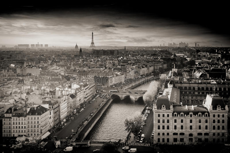 Black and White Aerial Photo of Paris, France from Notre-Dame Cathedral with Eiffel Towe royalty free stock photo