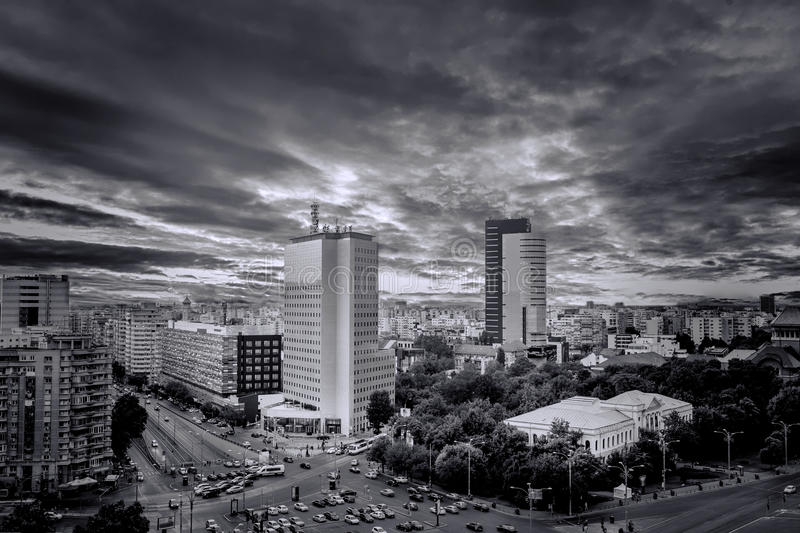 Black and White Aerial Photo of Victoria Square at sunset after a summer storm. royalty free stock photo