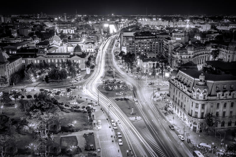 Black and White Aerial photo view of the center of capital city Bucharest, Romania royalty free stock photos