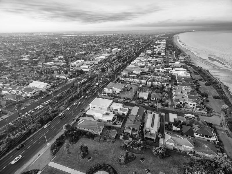 Black and white aerial view of Patterson Lakes and Nepean Highway. Black and white aerial view of Patterson Lakes suburb and Nepean Highway at sunrise. Melbourne stock image