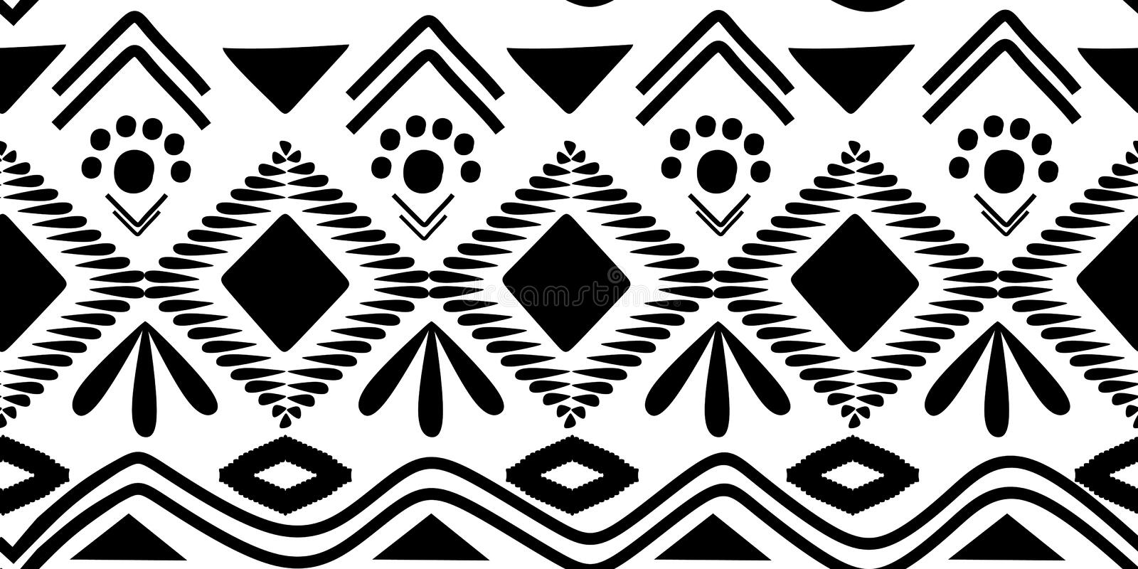 Black and white african ancient motif seamless pattern monochrome colors vector illustration for fashion textile ready for print. Tribal Black and white african vector illustration