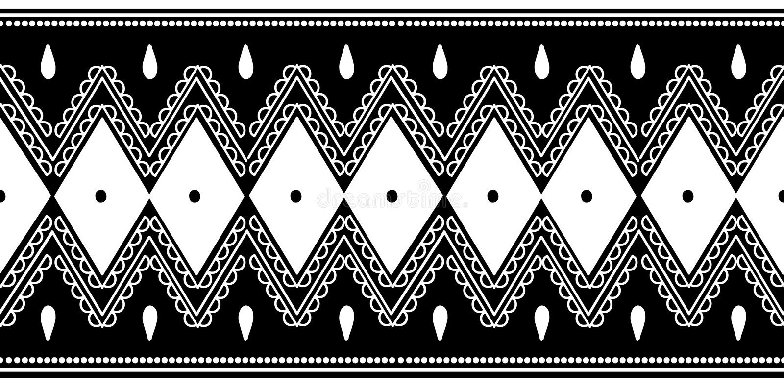 Black and white african tribal pattern background. Abstract traditional ethnic hand drawn motif monochrome colors vector illustration
