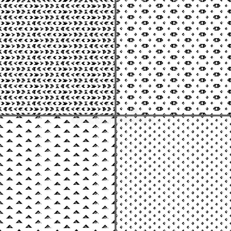 Black and white aged geometric ethnic grunge seamless patterns set, vector royalty free illustration