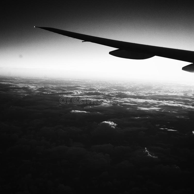 Black and White Airplane Flight royalty free stock image