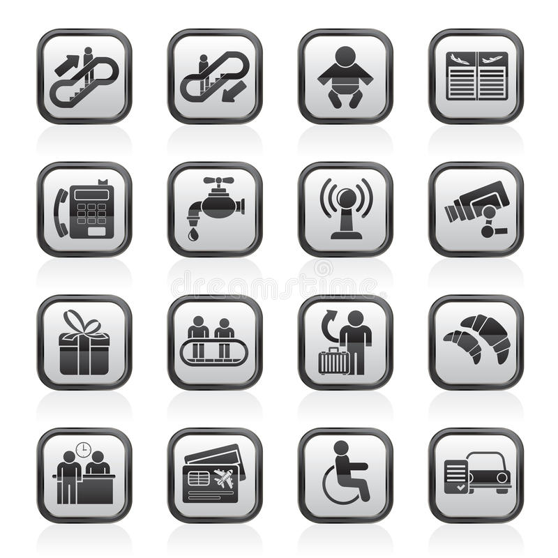 Black and white airport, travel and transportation icons vector illustration