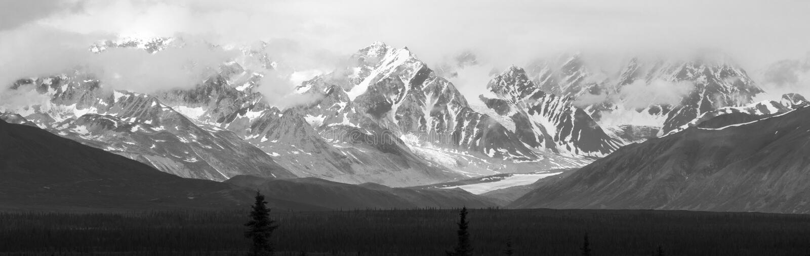 Black and White Alaskan Peaks royalty free stock images