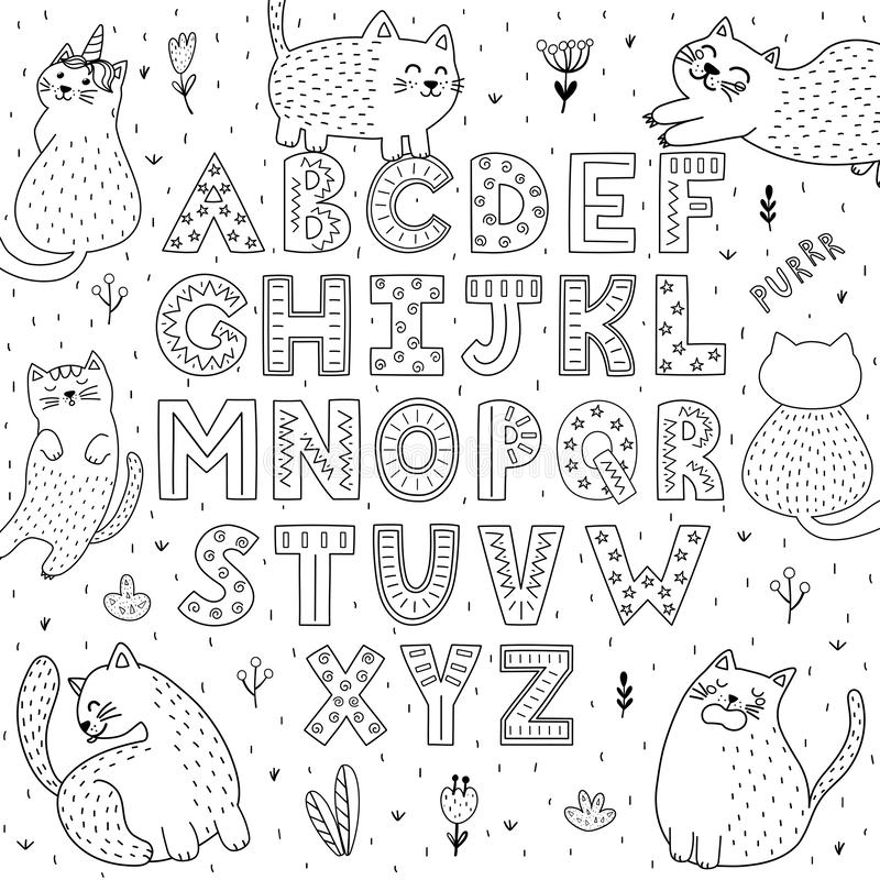 Black and white alphabet with funny cats. Abc coloring page vector illustration