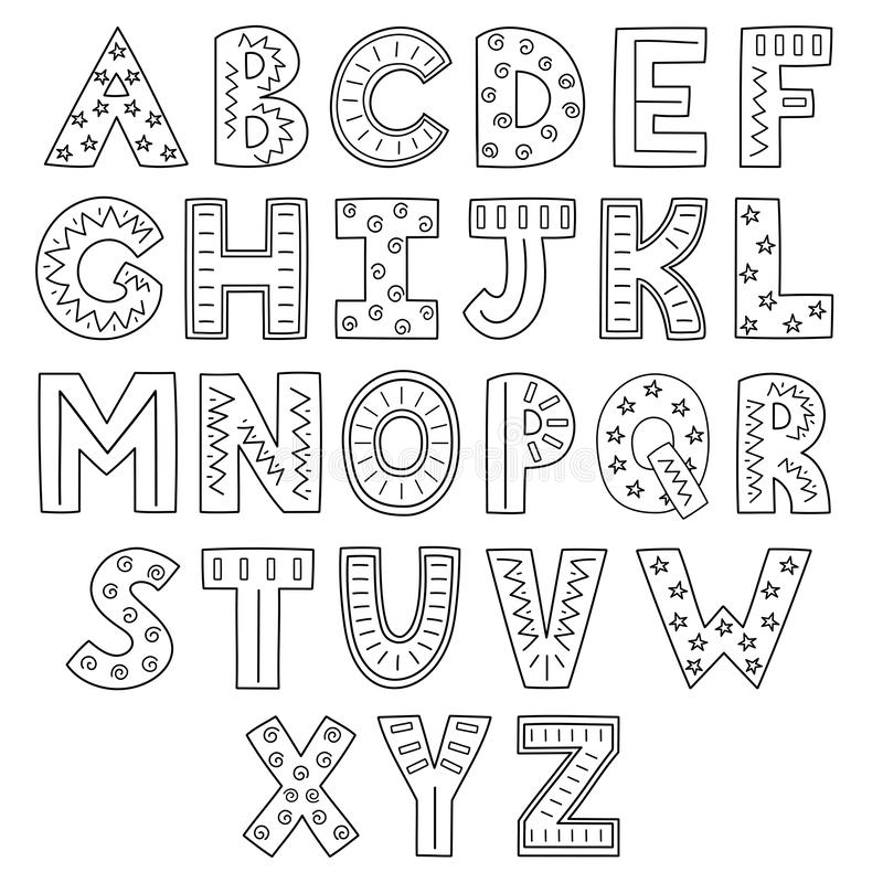 Black And White Alphabet Hand Drawn Outline Abc Stock Vector Illustration Of Cartoon Abstract 151019307