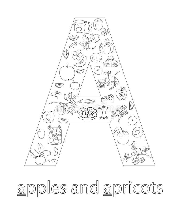 Black and white alphabet letter A. ABC flashcard stock illustration