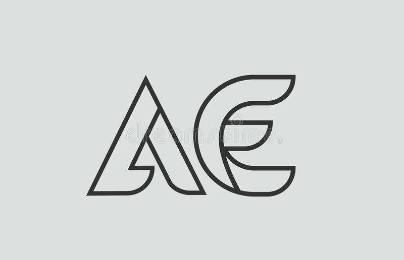 Black and white alphabet letter ae a e logo combination. Design suitable for a company or business royalty free illustration